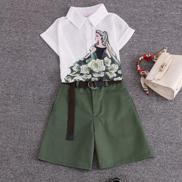 summer 2 pieces suits girl print chiffon blouse shirt women tops + shorts set Women two piece set tracksuit With Belt