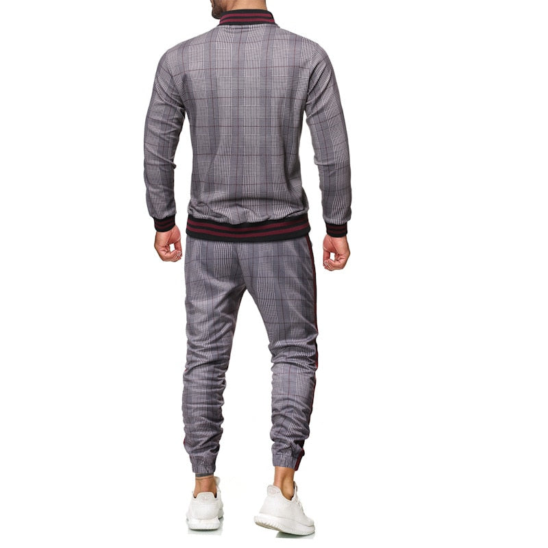 sport suit men's sportswear casual two piece set digital printing checked tracksuit  men jogging spring autumn men clothes