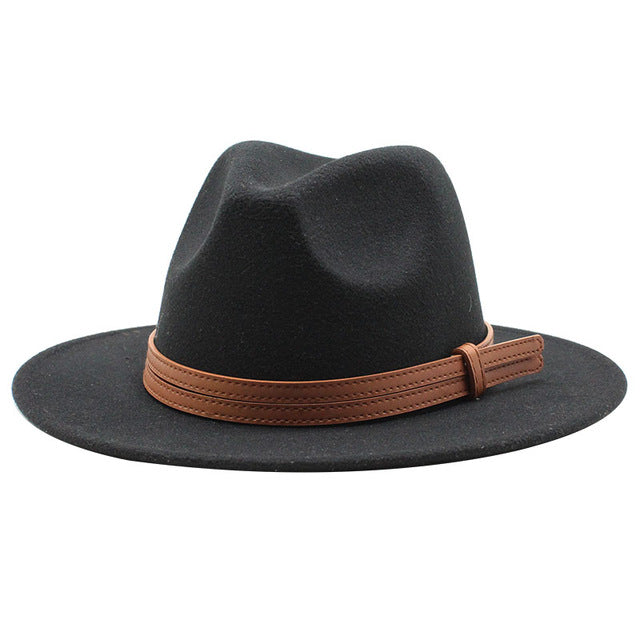 Seioum  New Winter Wool Fedora Hat For Women Felt Cap Wide Brim Ladies Trilby Hat Men Panama Party Formal Top Hat