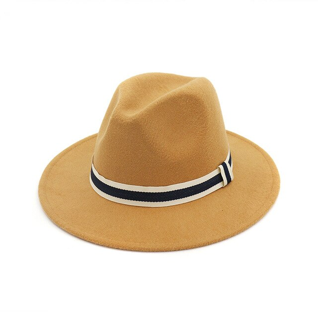 FS Women Men Woolen Felt Hat Panama Trilby Jazz Fedoras Hats With Striped Belt Flat Brim Formal Party Top Hat Winter Autumn