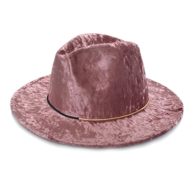 Ladies autumn winter caps Men Women Wide Brim Wool Felt Fedora Panama hats with Belt Buckle Jazz Trilby Cap Party Formal Top Hat