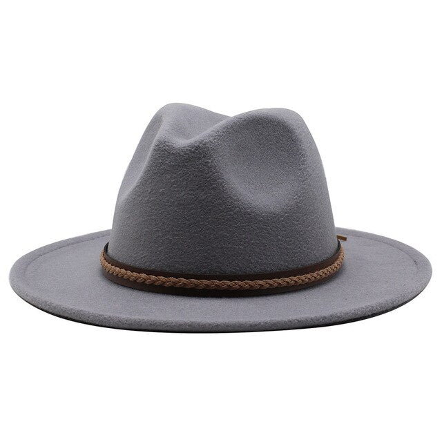 New Men Women Wide Brim Wool Felt Fedora Panama Hat with Belt Buckle Jazz Trilby Cap Party Formal Top Hat In White,black