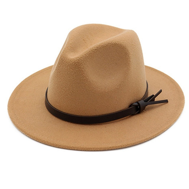YOYOCORN  Hawkins Felt Cap Wide Brim Ladies Trilby Feminino Hat Women Men Jazz Church Godfather Sombrero Caps Wool Fedora Hats