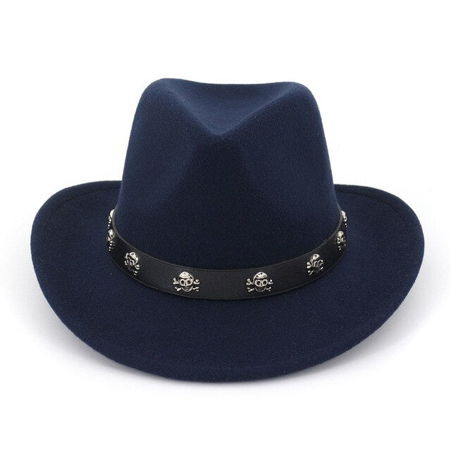 Wide Brim Wool Felt Panama Cowboy Hat Jazz Fedora Trilby Hats with Rivet Belt Band Formal Top Hat Chapeau Sombrero for Men Women