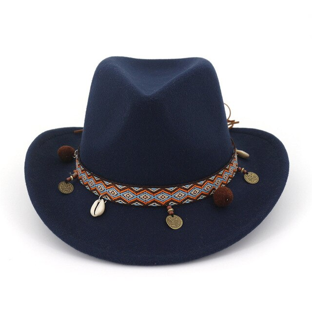 Fashion Wide Brim Panama Cowboy Cowgirl Hat Felt Fedora Trilby Hats with Ribbon Band Jazz Formal Top Hat Chapeau for Men Women