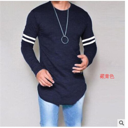 New Style Men T-Shirts Hot Fashion men's Slim Fit O Neck Long Sleeve T-shirt Muscle Tee Casual Stripe Tops Tshirts blouses