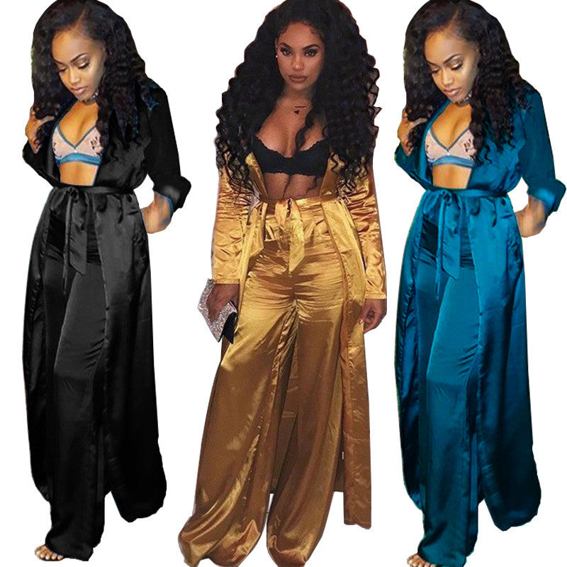 Satin Two Piece Set Women Fashion Long Kimono Cardigan Trench Coat and Wide Leg Pants Set Ladies Trousers Suits 2 Piece Outfits