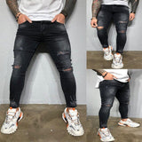 Mens Striped Print Jeans Brand New Skinny Ripped Destroyed Stretch Denim Trousers Casual Slim Fit Hip Hop Pencil Pants with Hole