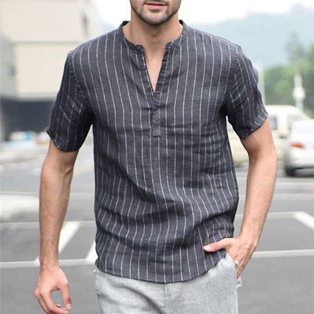 summer Man Shirt Men Short-sleeved Baggy Cotton Linen Striped Button Beach Shirts Daily Gift