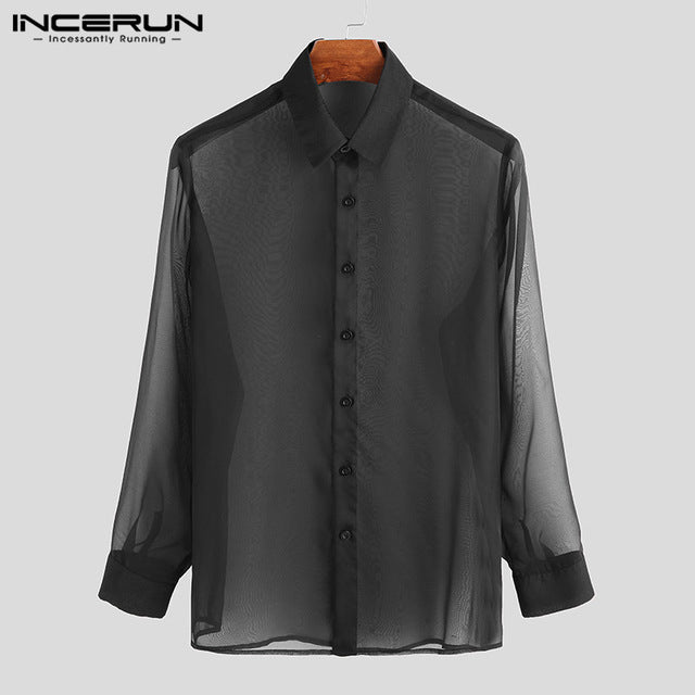 INCERUN Men Solid Color Long Sleeve Lapel Shirt Fashion Breathable Thin Button Mens Clubwear Party Casual Sexy Blouse Streetwear