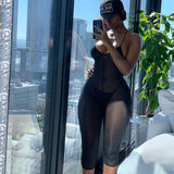 Cryptographic Black Mesh Sexy Backless Sheer Playsuits Romper Party Club Sleeveless Jumpsuits Fashion Outfits Female Playsuit