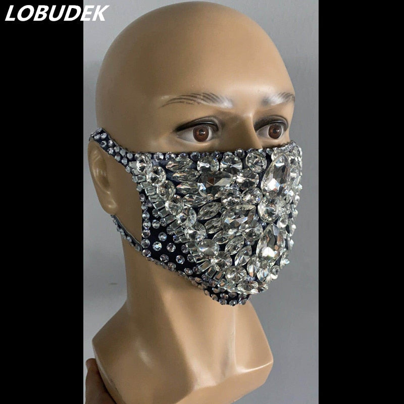 Fashion Pearl Rhinestones Mask coronavirus Male Female Stage Accessories Prom Party Show Masked Singer Dancer Catwalk Performance Costume