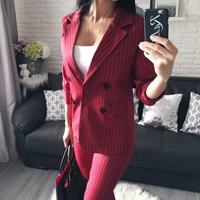 Work Fashion Pant Suits 2 Piece Set for Women Double Breasted Striped Blazer Jacket & Trouser Office Lady Suit Feminino