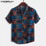 INCERUN Breathable Cotton Men Shirt Ethnic Style Print Vintage Short Sleeve Streetwear Tops Loose Men Beach Hawaiian Shirts