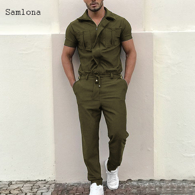 New Cotton Blends Jumpsuit Mens Overalls Casual Notched Short Sleeve Rompers Solid Color Overall Zipper Romper Pocket Trousers