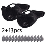 2PC Sport Face Maske With 13PC Filter Activated Carbon PM 2.5 Anti-Pollution Running Training Face Road Bike Maske Cosplay
