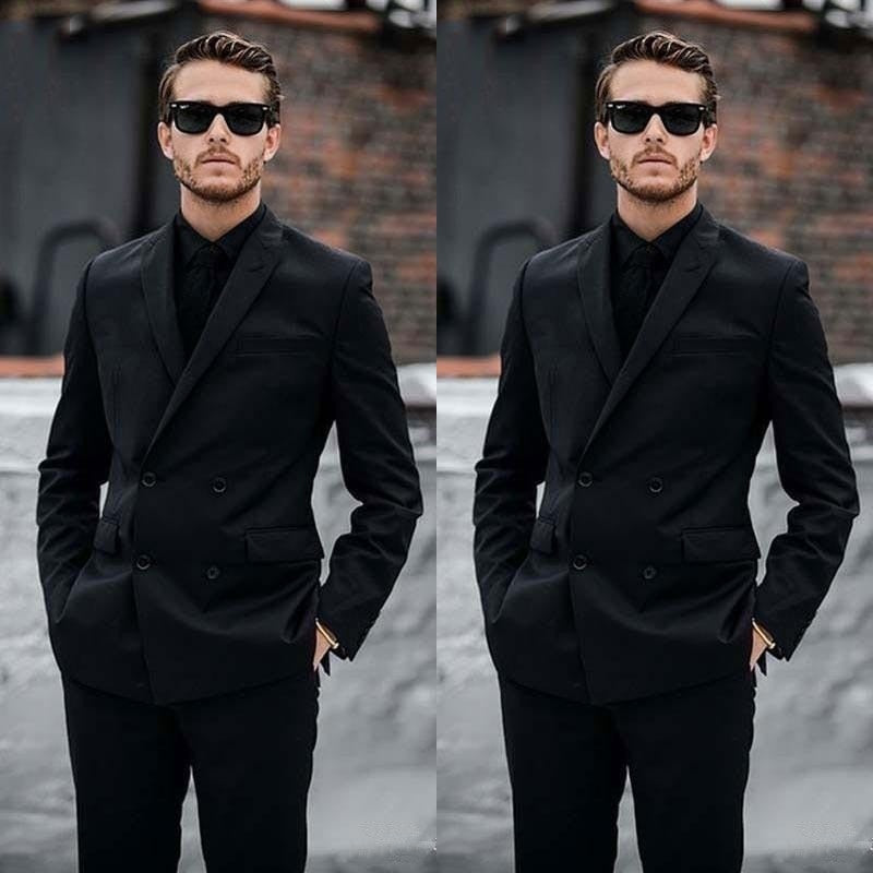 Double Breasted Black Men Suits Groom Wear Casual Wedding Suits Prom Blazer Slim Fit Suits Formal Business Suits(Jacket+Pant)
