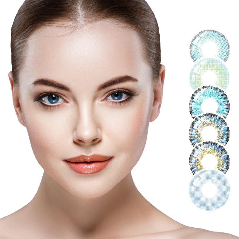 Blue Contacts  NEW HIDIROCOR Two Piece Colored Contacts beautiful pupil color contact lenses contact lenses for eyes color