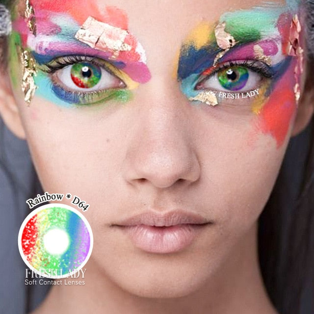 Fresh Lady 2pcs/pair Cosplay Color Contact Lenses Rainbow Series Eye Contact Lens Colored 14.5mm Cosplay Cosmetic Contact Lens