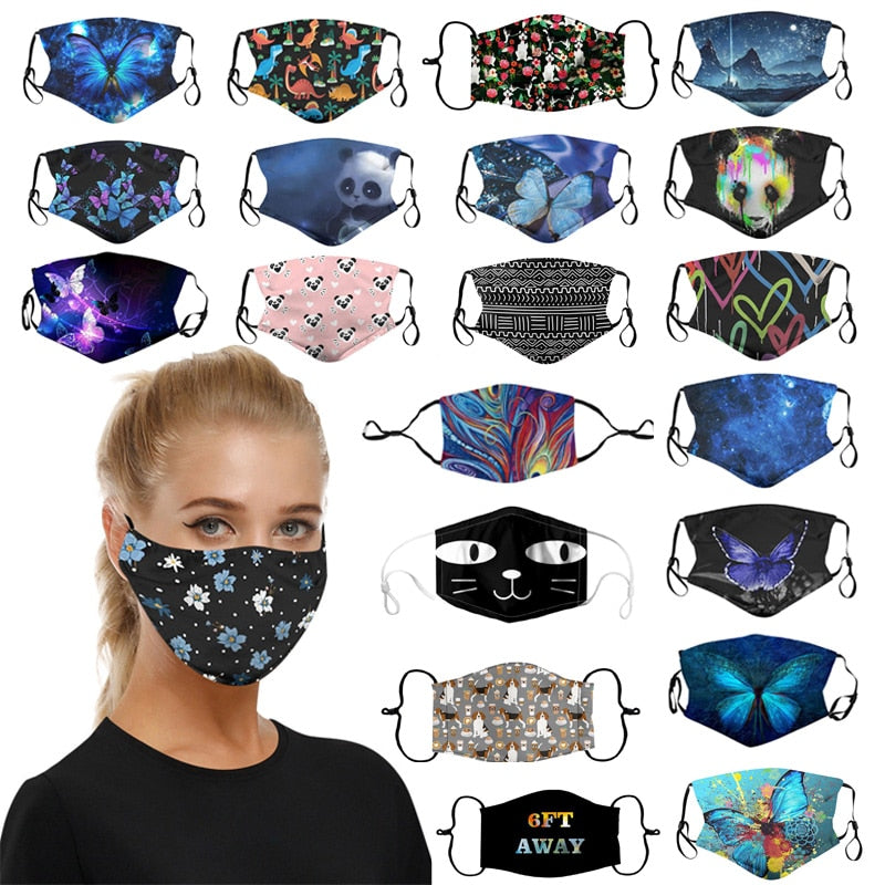Scarf Adults Printed Reusable Washable Dust Breathable Mouth Face Adjustable Mask Cubrebocas Mascarilla Máscara facial