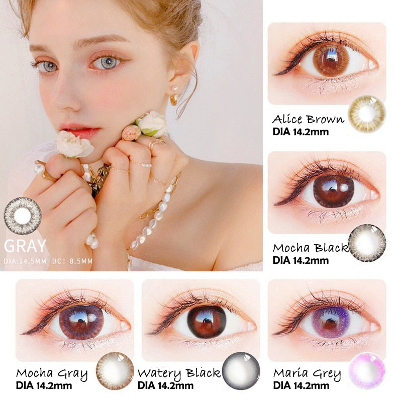 Beautiful Pupil Color Contact Lenses Monthly  Female Path 14.5mm Cute Multicolor Party Gift Cartoon Girl Prescription Cosplay