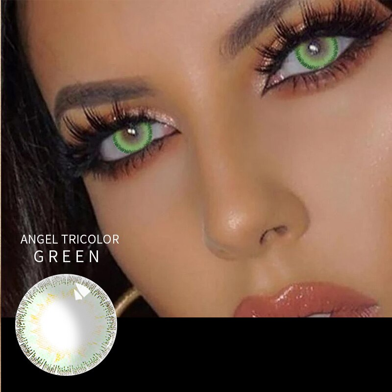 Beauty Coner-2pcs/pair Angel Tricolor Soft Colored Contact Lenses Cosmetic Makeup Yearly Cycle Color Contact Lens for eye