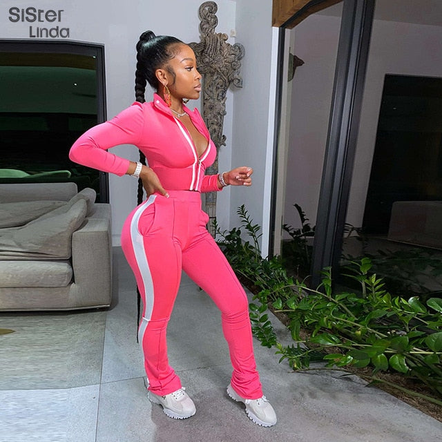 Sisterlinda Sporty Patchwork Women Two Piece Sportwear Long Sleeve Workout Active Wear Outfits Zipper Tops Flare Pants Suit