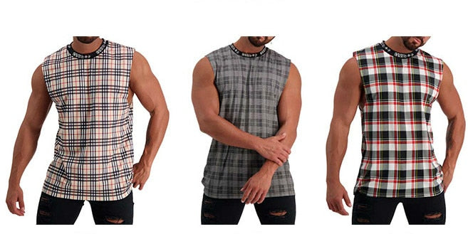 Men Tank Top Hip Hop Streetwear Fashion Plaid Shirt Sleeveless Hight-Neck Top Tee Stringer Tank Top Bodybuilding