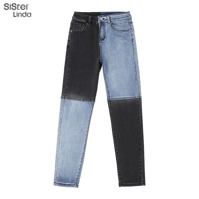 Sisterlinda Patchwork Skinny Straight Leg Jeans Woman Trousers High Waist With Pockets Denim Color Block Ladies Jeans Blue Pants