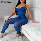 Kricesseen Sexy Lace Up Eyelet Two Piece Trakcsuit Legging Set Women Straps Top And See Through Mesh Suit 2 Pieces Rave Outfits