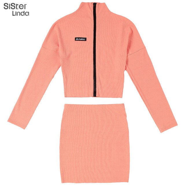 Sisterlinda Ribbed Knitted Zipper 2 Piece Workout Set Women Matching Suit Letter Print Bodycon Fall Top Skirt Outfit Streetwear