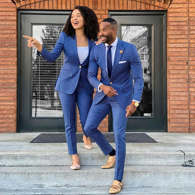 Hot Selling Plaid Mens Suits Two Piece Slim Fit Peaked Lapel Groomsmen Wear Custom Made Prom Dress Groom Tuxedos Wedding Suit