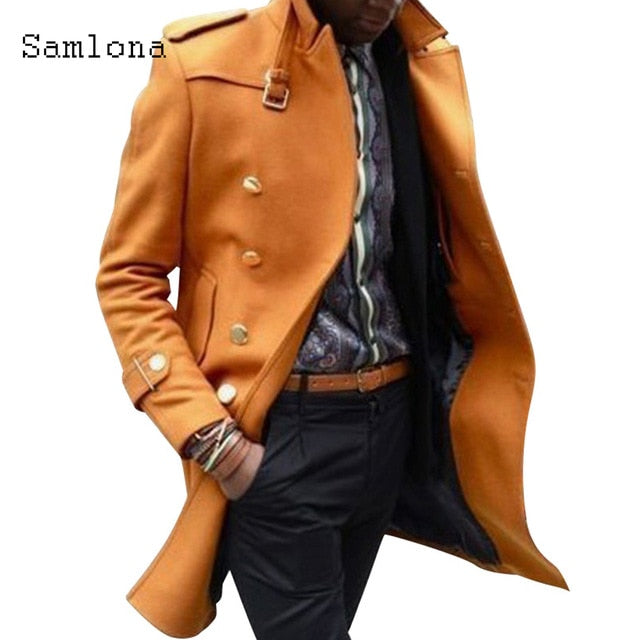Mens Long Jacket Autumn Wool Coats Long Sleeve Double Breasted Fashion Epaulet Men Clthing Blends England Style Winter Outerwear