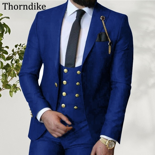 Thorndike Wine Red Busness Men's Suits Peaked Lapel Suit(Blazers+Pants+Vest) Custom Made Formal Wedding Suit Solid Elegant Suits
