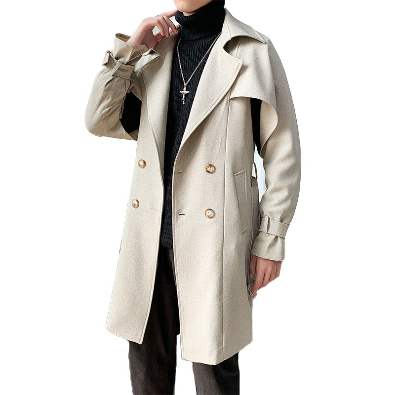 Autumn Winter New Men Wool Blends Coats New Solid Color High Quality Men's Wool Coats Luxurious Wool Blends Coat Male
