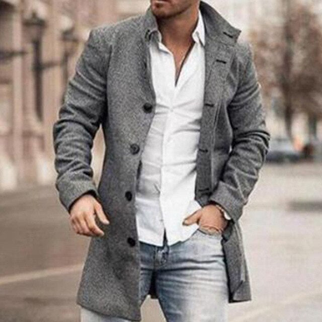 Autumn Men Long Woolen Coat Straight Long Sleeve Fashion Casual Office 2020 Winter Oversized Coat Plus Size 3XL Warm Young New