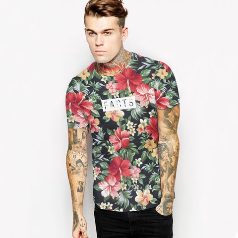 3D Floral Print T Shirt Men  Brand Summer Mens T Shirts Short Sleeve T-shirts Men Slim Fit Elastic Tshirt Tee Shirt Homme