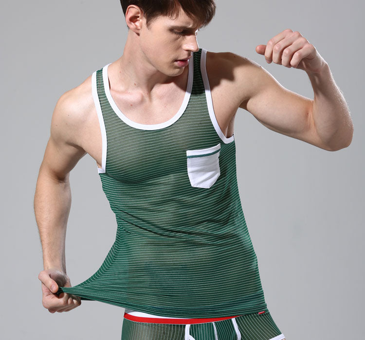 60afaf6fa0aa98 ... male tank top fashion clothing sexy mens vest transparent gauze  sleeveless summer tight-fitting o ...