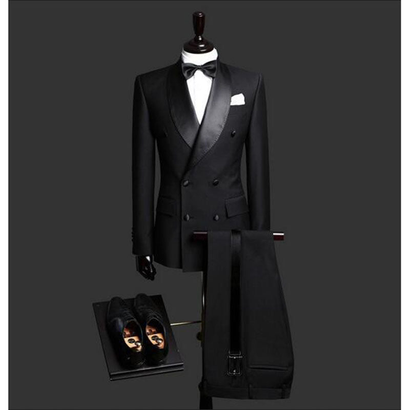 Custom Made Slim Fit Black 2 Piece Mens Blazer Double Breasted Suit Men Wedding Suits Groom Tuxedos For Men (Jacket+Pants+Tie)