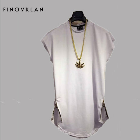 Brand New Clothing Mens Side zipper Long t shirt Men Tops Hip hop tee T-shirt Men Hiphop Short Sleeve Longline casual Tee shirts - myshoponline.com