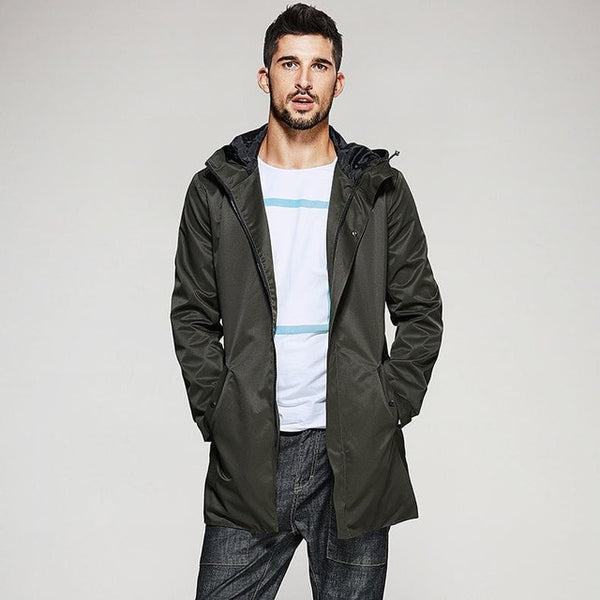 New Autumn Mens Hooded Trench Spliced Green Color Long Coats Clothing Man's Slim Overcoat Male Windbreaker Jackets