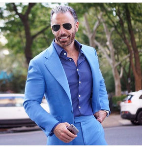 Tailored Light Blue Suit Men Groom Tuxedo Slim Fit 2 Piece Blazer Prom Wedding Suits For Men Terno Masculino Jacket+Pant