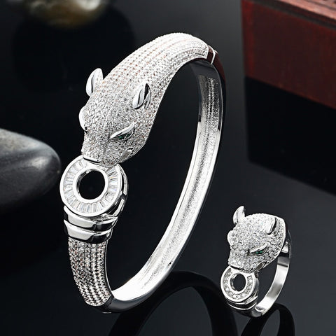 Blucome Luxury Brand leopard Animal Bangle for Men Accessories Perfect Cubic Zirconia Wedding Jewelry Mens Bracelet&bangles