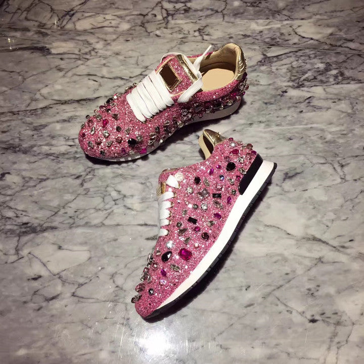 1f9793b01533d Rhinestones Sneakers Women Shoe Laces Paillette Spell Color Flat Shoes  Ladies Real Leather Causal Shoes Woman