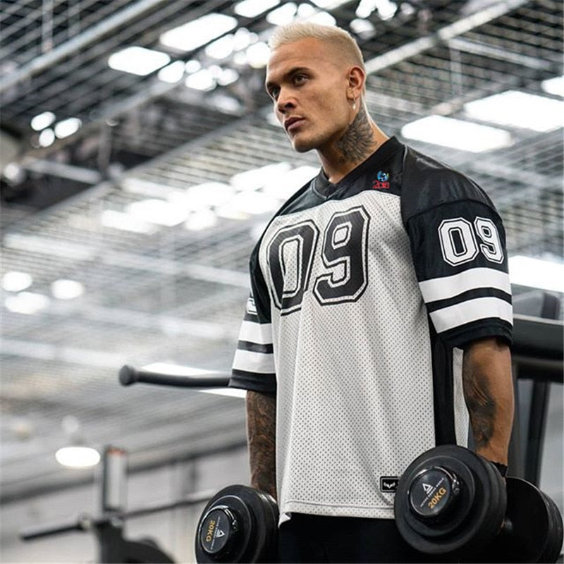 Men tshirt Quick Dry Breathable T-shirts men Soccer Jersey Shirt sports Loose Bodybuildi t-shirt