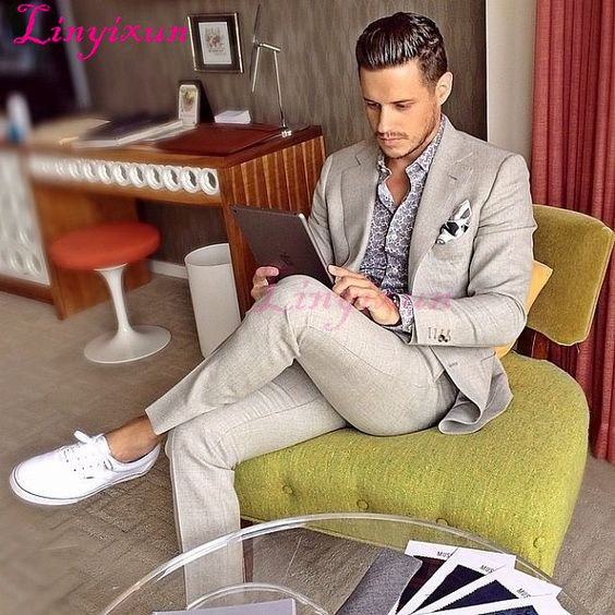Man Suit For Beach Wedding Groom Tuxedos Men Casual Prom Blazer Suits Groomsman Wear terno masculino