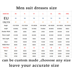 Men Suits Groom Tuxedos Custom Notch Lapel Best Men Wedding Dress Men's Formal Prom Wear