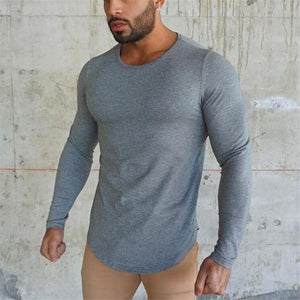 Brand fashion Mens t shirt  Spring Autumn Slim longsleeve Fitted T-shirts male Tops Leisure Bodybuilding Long Sleeve tees