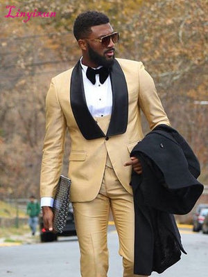 Clothes Business Suit Costume Slim fit Casual Design Champagne Prom Suits Groom Tuxedos For Men Wedding.