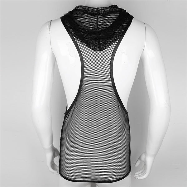 Mens Lingerie Fishnet See-through Hooded Vest Tank Top Mesh Openwork Clubwear Undershirt for Men Nightclub Evening Party Costume